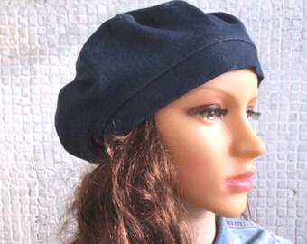 9b4f718de69e7 Beret Blue Woman Denim hat Denim beret French beret Beret hat for girls  Cotton hat Spring hat Ladies hat Handmade hat Tams hat Summer hat