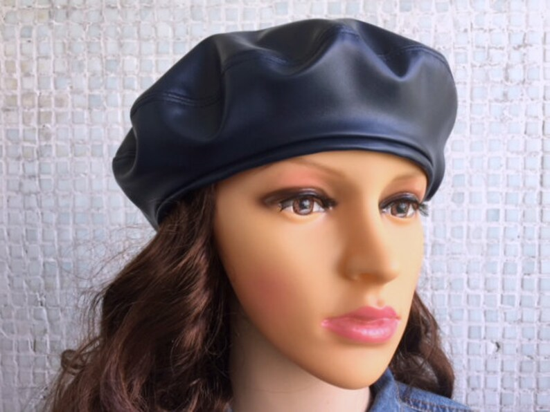 Beret Blue Woman hat Women Beret Hat for women Leather hat for  1259067cd51