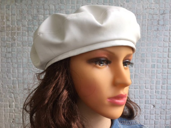 Beret White Women Hat Leather Beret White Leather Hat White  0437d8f1f1c