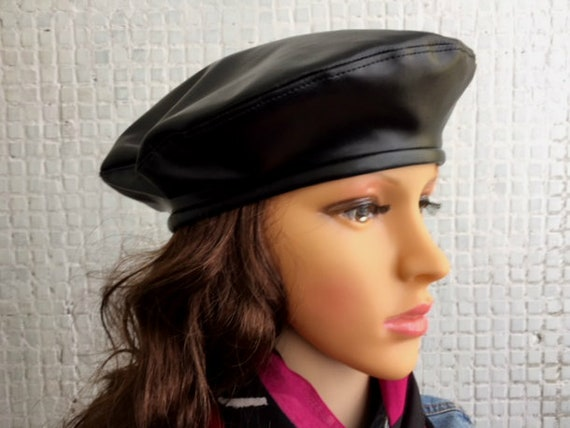 Beret Beret Hat for women Leather Beret Hat Womens Leather Hat  bc0bfefcced