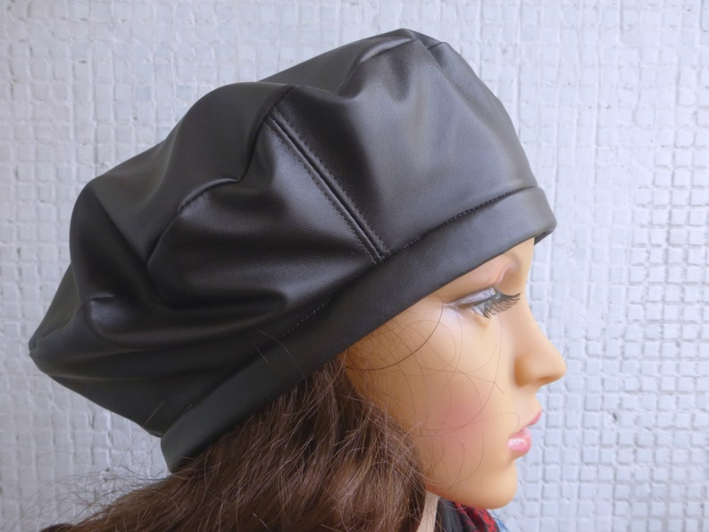 Brown Leather Beret Hat Beret hat Leather hat Leather beret  070c6991ca2b