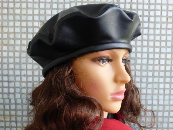 2b2c36ba805fde Beret Woman Black Leather Beret Hat Leather Hat Woman Fashion | Etsy