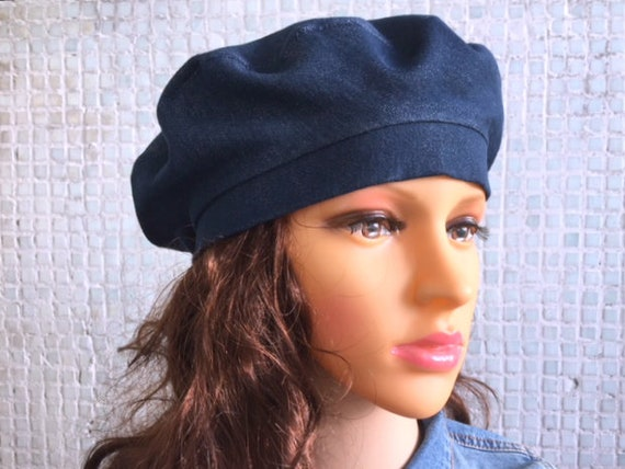 173d57a23 Beret Blue Hat Woman Denim hat Denim beret French beret Beret hat for woman  Cotton Beret Hat Spring hat Ladies hat Tams hat Summer hat