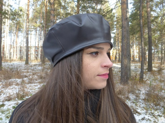 Brown Leather Beret Hat Womens Leather Hat Womens Slouchi Hat  5a6564206939