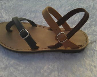 Elegant full grain leather sandal