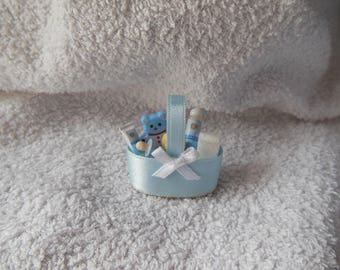 Basket with baby toiletries needed, for miniature roombox or Dollhouse