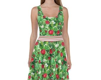 568c99e520fe Strawberry Plant Leafy Green Skater Dress Berry Fruit Garden Plants Summer  Harvest with Sleeveless Top and Flared Skirt