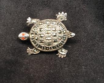 Marcasite Turtle Pin