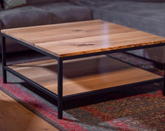 Rustic Industrial Square Metal and Wood White Oak Coffee Table