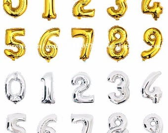 Balloon number 40 cm gold or silver giant inflatable letter, wedding, party, event