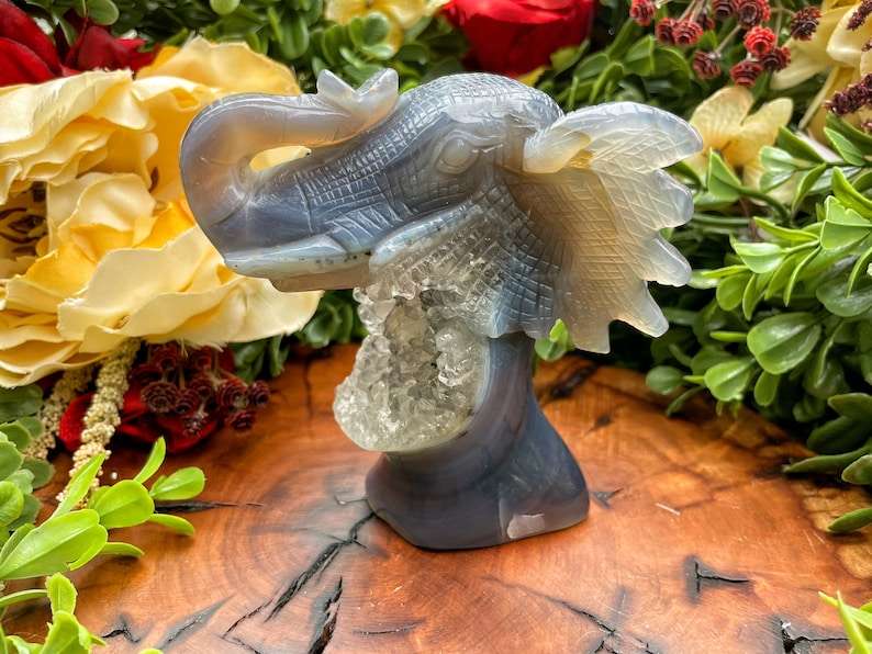 Gorgeous Druzy Agate Elephant #15