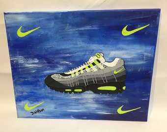 32a7b6dc61e98 Adidas Yeezy 350 turtle dove sneaker original painting on   Etsy