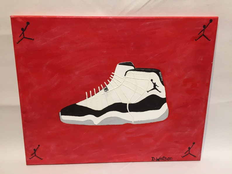 Air Jordan 11 concord original shoe painting on canvas  82b6a97f43