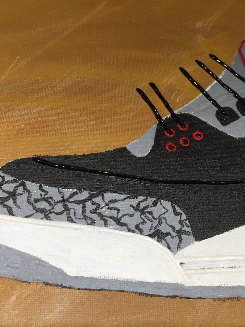 785416796fbd3 Air Jordan 3 retro black cement sneaker shoe original abstract acrylic  painting on canvas 6x20x1/2, kids room, man cave, Father's Day