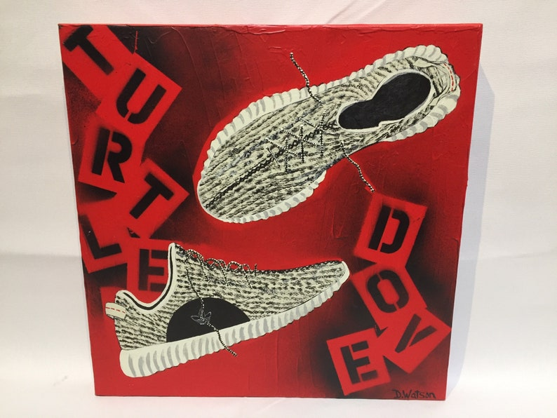 more photos 24f05 155a3 Adidas Yeezy 350 turtle dove sneaker original painting on   Etsy