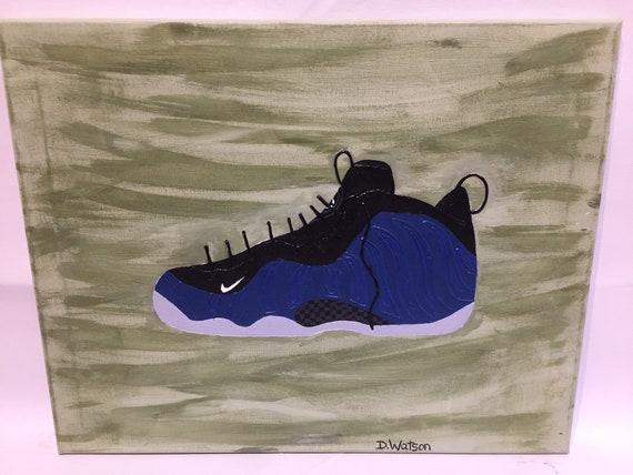 "95dc6fbb0dfbc Nike Foamposites neon royal sneaker original painting on canvas 16""x20""x1  1/2, man cave, kids room, Shoe art, custom painting, nike art"