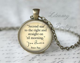 Peter Pan, 'Second Star To The Right', J.M. Barrie Quote Necklace or Keyring, Keychain.