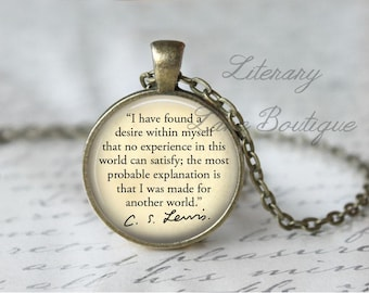 C. S. Lewis, 'I Was Made For Another World', Quote Necklace or Keyring, Keychain.