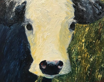Baby Cow Original Oil Painting, 8 x 8 Cradled Board, Whimsical Farm Animal Painting, Impressionistic Painting, One-of-a-Kind, Ready to Ship