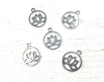 10 charms lotus metal color silver 24 x 20mm