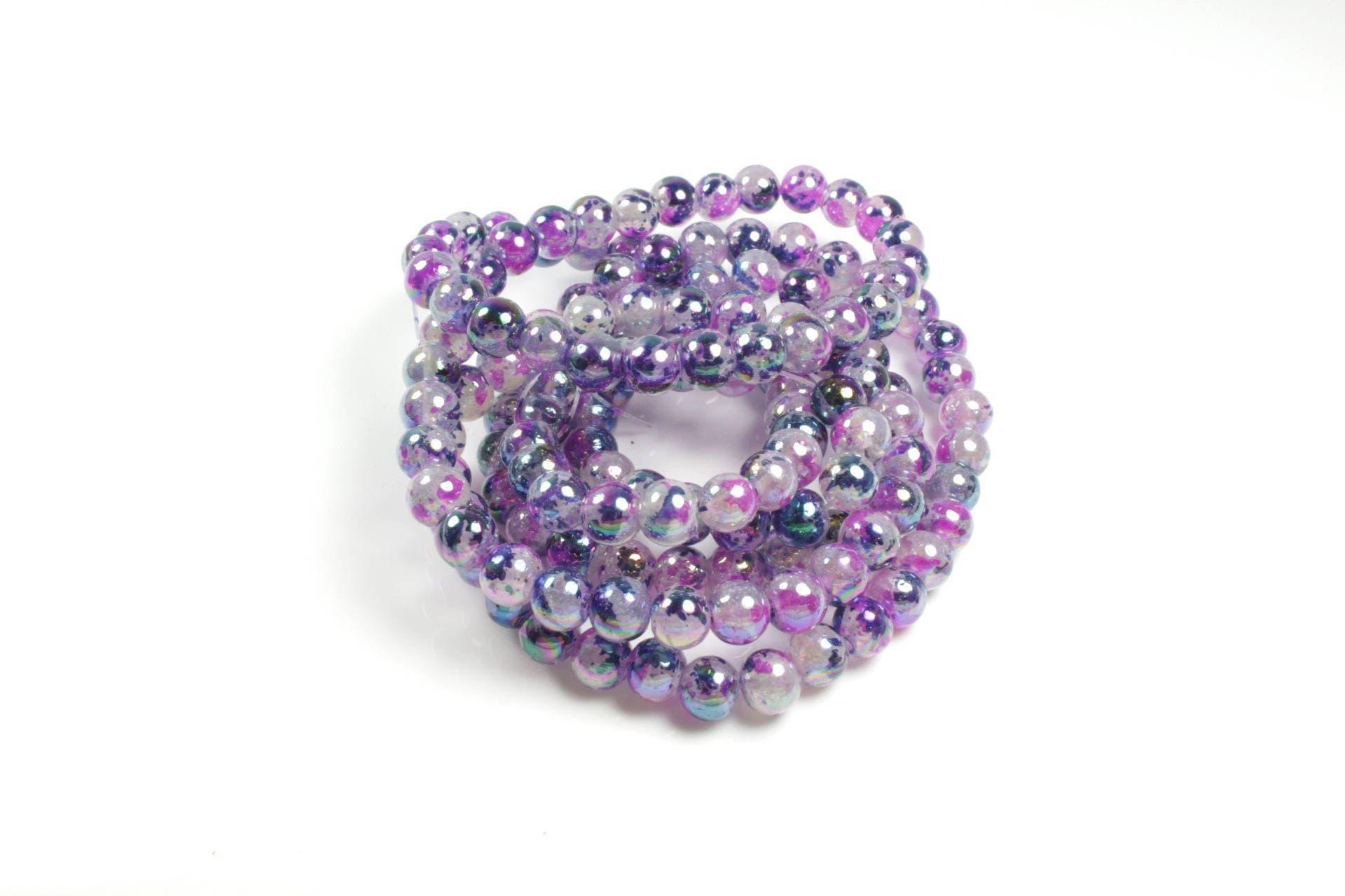 150 perles en verre tachet nuances de bleu violet etsy. Black Bedroom Furniture Sets. Home Design Ideas