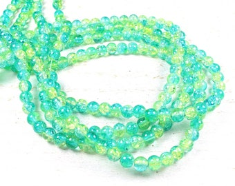 50 green & yellow 6mm two-tone cracked glass beads