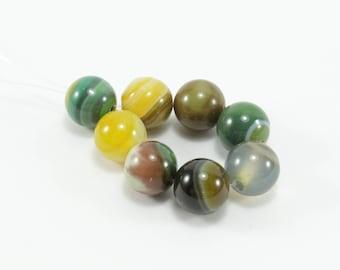 Natural Agate beads 10 shades of Green / Khaki 8mm
