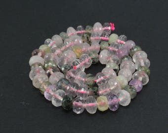 10 pearls Abacus of rose Quartz, amethyst and Prehnite mixing LBP00040