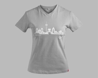 f063deb7458 Nextar Design * Tehran Skyline grey * gray * t-shirt shirt v-neck women*  soft cotton tshirt * women's t-shirt