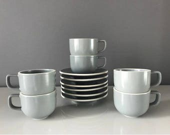 Sasaki Colorstone by Massimo Vignelli Tea Cups/Saucers - Set of 6 - Matte Gray
