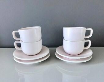 Sasaki Colorstone by Massimo Vignelli Tea Cups/Saucers - Set of 4 - Matte Pink