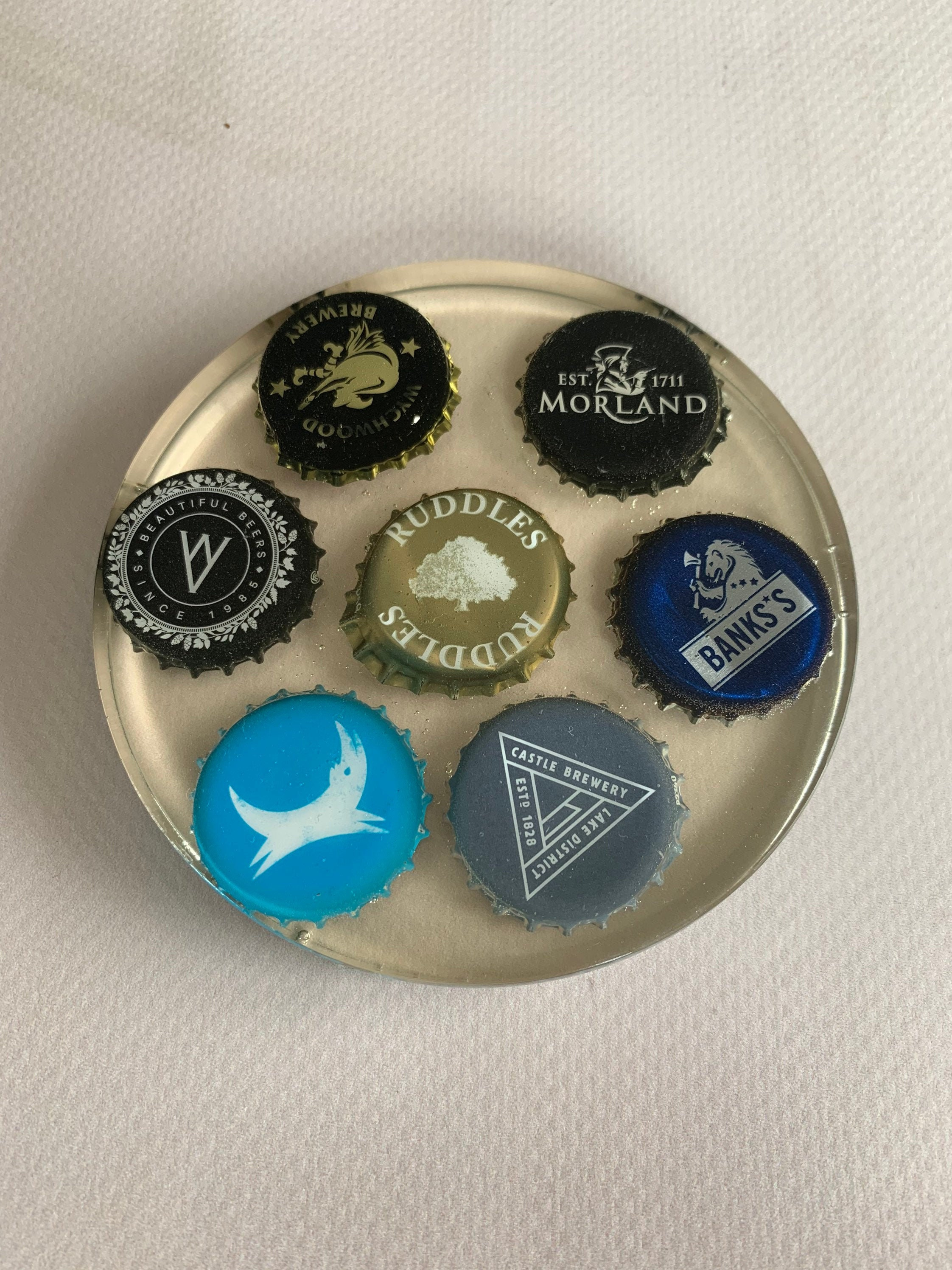 Beer top Coaster Beer Cap Coaster Home Bar Summer House Craft Beer Home Brewing Fathers Day Gift Bottle top coasters gift for him beer mats