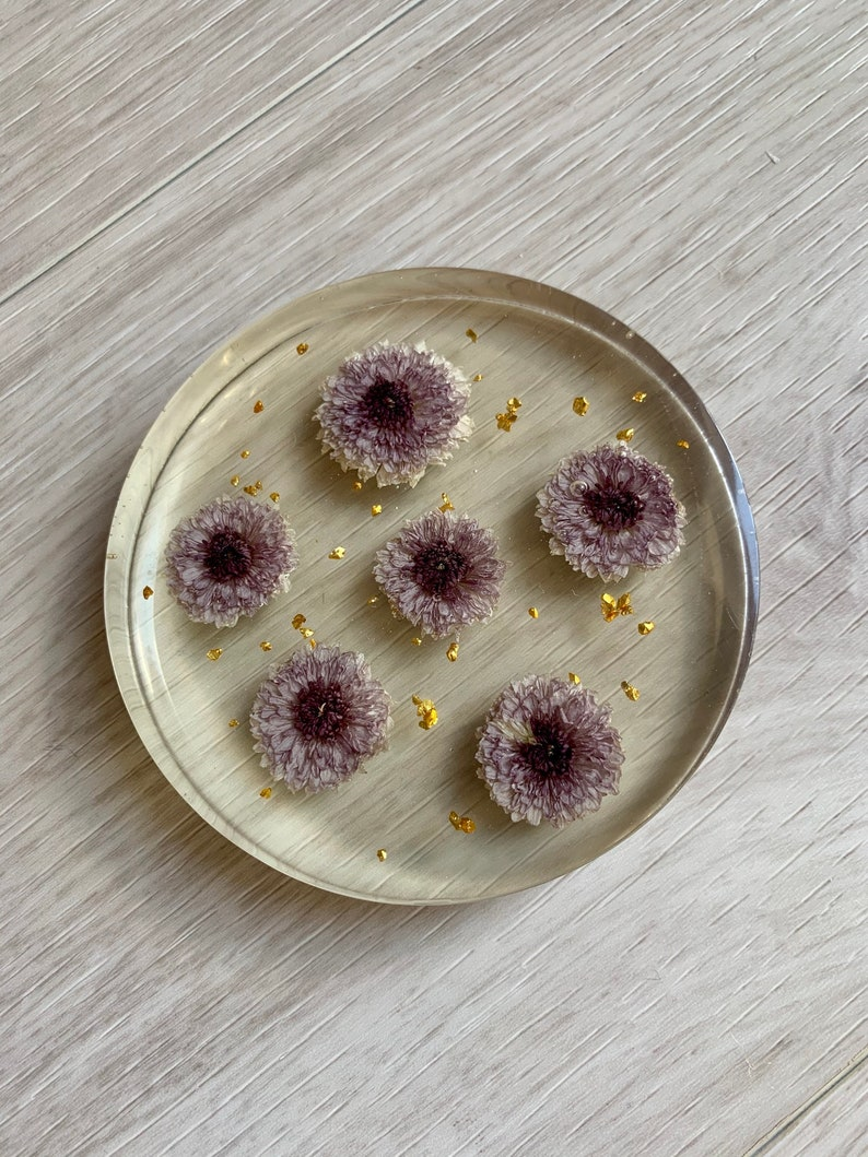 Purple Flowers /& Gold Flecks Thick Coaster Gift For Her Preserved Flowers Gift For Home Nature Lover| Natural Dried Flowers Purple