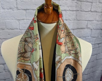 Designer Inspired Scarf Silk Pashmina Horses Equestrian Stars Oversized Long NEW