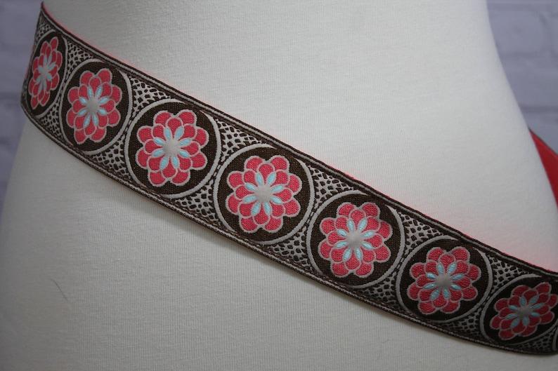 Floral Hippie Belt orange blue brown  floral fabric belt with plastic buckle modern style boho festival wear belts3