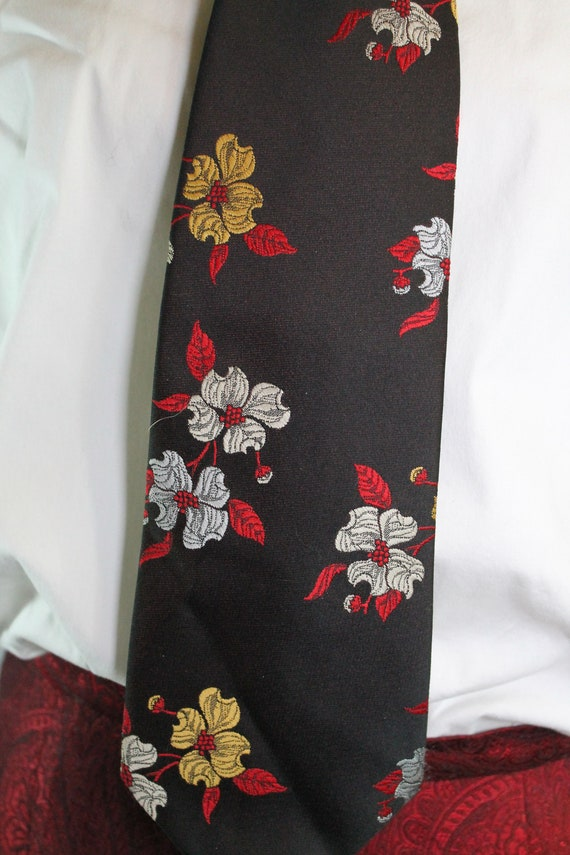 Mens Ties Watercolor Tropical Floral Flower Neck Tie Fashion Neckwear For Senior