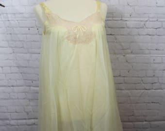 Vintage 1960s babydoll | Sheer yellow Nightie | Sax Fifth Avenue | chiffon Size S | retro lace nightgown | lingerie lemon ivory négligée 1
