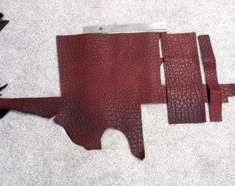 Brown Shunken Buffalo Leather Scraps / Remnants / Pieces