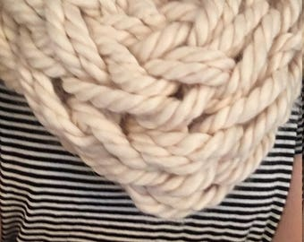 Infinity single wrap  off white arm knitted full and fuzzy infinity scarf.