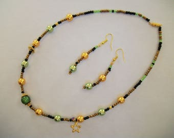 """""""Bahia"""" parure: necklace and earrings"""