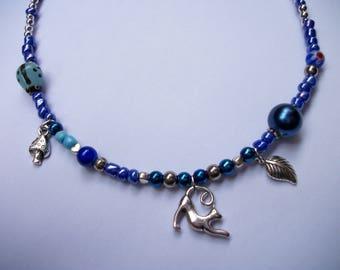 Girl cat blue