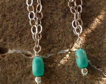 Delicate Sterling Silver Chain Dangle V Shaped Earrings with Turquoise or Jasper//boho style jewelry//light weight earrings//gifts for her