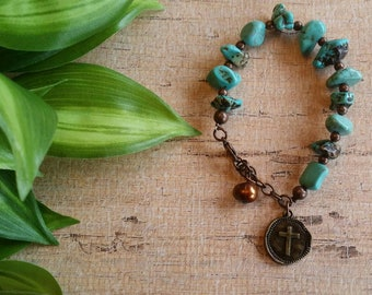 Southwest Bracelet, Turquoise Bracelet, Boho bracelet, Beaded bracelet, Native American style bracelet