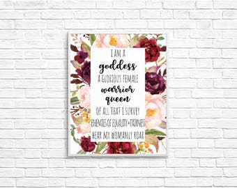 "Parks and Rec Pawnee Goddesses Creed 8x10 Print - ""I am a goddess, a glorious female warrior, queen of all that I survey"", Parks and Rec Art"