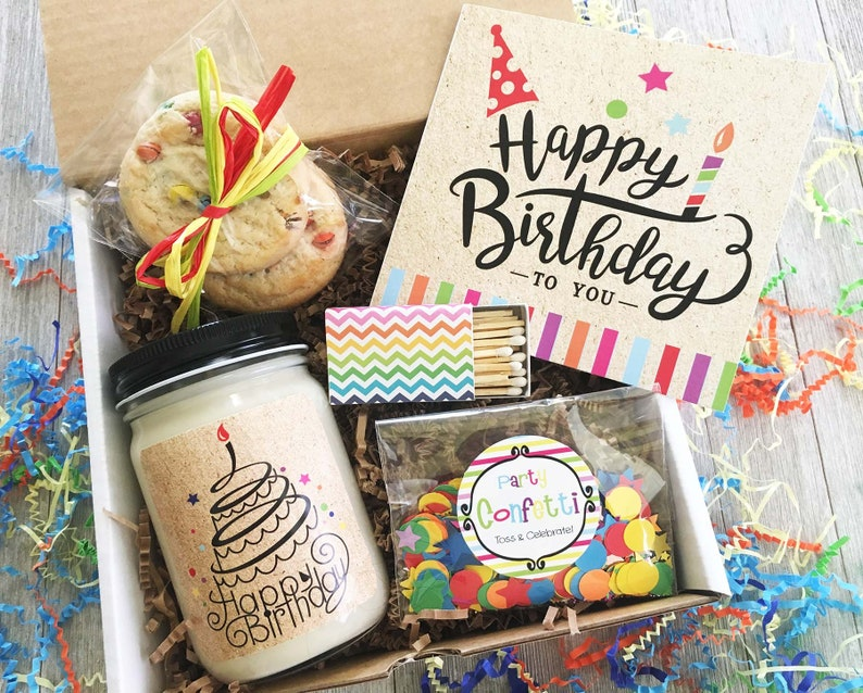Happy Birthday Gift Box In A Friend Coworker Confetti Set For Her Care Package