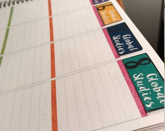 Teacher Subject/Period Stickers for 40 Week Erin Condren Planner