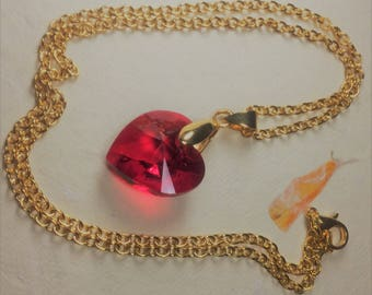 Gold plated pendant with large red sparkly Swarovski heart