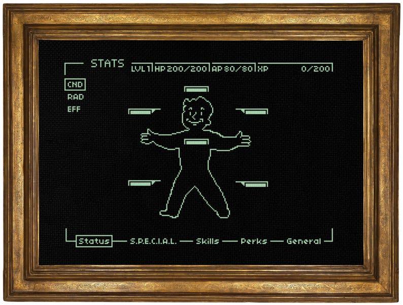 Pipboy Fallout Cross Stitch Pattern // Video Game Cross Stitch