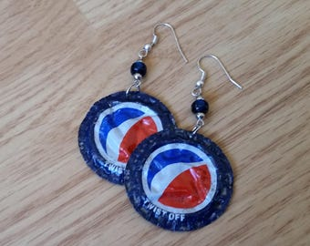 Pepsi Upcycled Soda Cap Earrings soda pop sodapop pepsi soda pop soft drinks bottlecaps bottle cap bottle cap jewelry bottle cap accessories