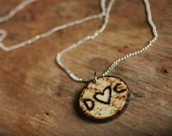 Handmade Sweetheart Woodburned Pyrography Necklace Customized with Your Initials! Style 2